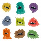stock photo of microbes  - Set of little angry viruses - JPG