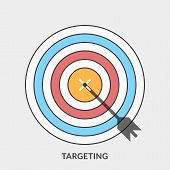Flat Design Concept For Targeting. Vector Illustration For Web Banners And Promotional Materials