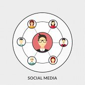Flat Design Concept For Social Media. Vector Illustration For Web Banners And Promotional Materials