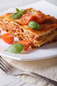 Lasagna With Basil And Tomatoes  On A White Plate. Vertical
