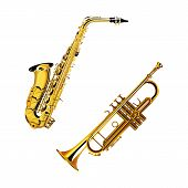 pic of trumpets  - vector illustration of a brass musical instrument saxophone and trumpet - JPG