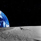 Earth and stars as seen from the lunar surface.