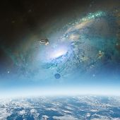 Space sunrise with space shuttle and galaxy background