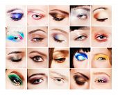 Collage of many different and beautiful female eyes with creative colorful makeups
