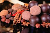 Chocolate Truffles And Chocolates With Spices