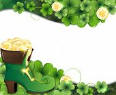 picture of clover  - Leprechaun shoe on clover and gold coins - JPG