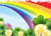 Rainbow, Clover And Gold Coins