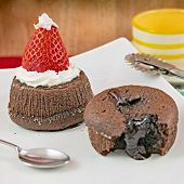 Chocolate Cake With Strawberry In The Shape Of Hat Christmas