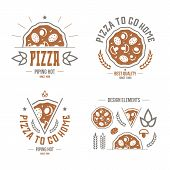 Pizzeria Labels, Badges And Design Elements