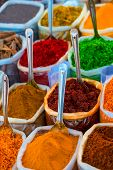 The Oriental Bazaar With Different Spices