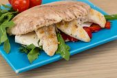 picture of pita  - Pita with ruccola and grilled chicken breast - JPG