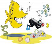 stock photo of unawares  - Vector cartoon of aggressive fish with skin diver taking photograph underwater - JPG