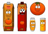 picture of orange-juice  - Cartoon orange juice packs characters with funny smiling bright orange and red juice cartons - JPG
