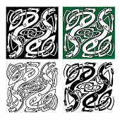 foto of celtic  - Abstract celtic dragons with tribal stylized entwined wings and long tails on white - JPG