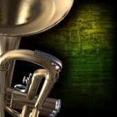 pic of trumpets  - abstract green grunge vintage music background with trumpet - JPG
