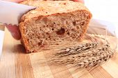 pic of fresh slice bread  - Hand of woman with knife slicing fresh baked wholemeal bread ears of wheat lying on cutting board - JPG
