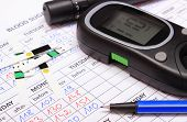 stock photo of measurements  - Glucose meter lancet device and pen lying on medical forms for measurement sugar in blood results of measurement of sugar concept for measuring sugar level - JPG