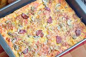 Pizza Food With Cheese, Mushroom And Sausage