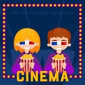 image of watching movie  - Moviegoers to the cinema vector illustration - JPG
