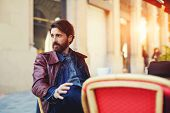 picture of coffee coffee plant  - Portrait of handsome and stylish man with beard enjoying a cup of coffee in a coffee shop adult fashionable hipster having coffee in beautiful cafe terrace at sunny day flare sun light - JPG