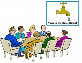 pic of spigot  - Business cartoon of business meeting and a chart that reads - JPG