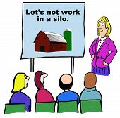 picture of silos  - Business cartoon of a speaker - JPG
