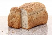 pic of whole-wheat  - whole wheat bread sliced on marble table white background - JPG