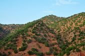 stock photo of atlas  - morocco highway outdoor view and atlas mountains landscape - JPG