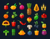 image of pawpaw  - set of colored icons on the theme of fresh vegetables and fruits - JPG