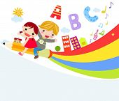 stock photo of playmates  - Vector illustration of cute two children riding pencil - JPG