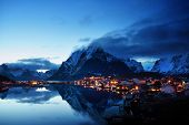 image of reining  - sunset  in Reine Village - JPG
