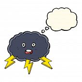 stock photo of lightning bolt  - cartoon cloud and lightning bolt symbol with thought bubble - JPG