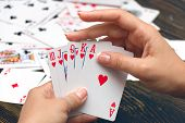 stock photo of poker hand  - Well - JPG