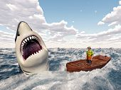 picture of great white shark  - Computer generated 3D illustration with man in a boat and great white shark in the stormy ocean - JPG