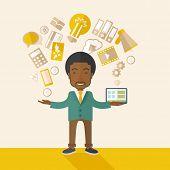 stock photo of multitasking  - A happy black man standing enjoying doing multitasking - JPG