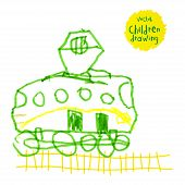 pic of locomotive  - Vector drawing of real children - JPG