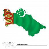 stock photo of turkmenistan  - Map of Turkmenistan with flag  - JPG