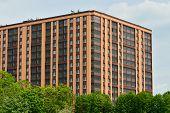 foto of fragmentation  - Fragment of new buildings with glazed loggias - JPG