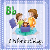 image of letter b  - Flashcard letter B is for birthday - JPG