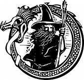 foto of wizard  - Woodcut style image of a wizard in a an encircling dragon - JPG