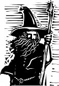 stock photo of wizard  - Woodcut style image of a magical wizard holding a staff - JPG