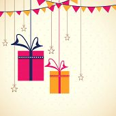 pic of eid festival celebration  - Greeting card design with colorful hanging gifts - JPG