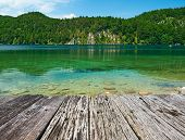 stock photo of bavaria  - Alpsee lake at Hohenschwangau near Munich in Bavaria - JPG