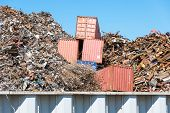 stock photo of skid-steer  - Scrap yard in the harbor of Hamburg - JPG