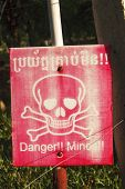 image of landmines  - Landmine sign in Cambodia from the war - JPG