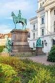 pic of emperor  - Grouped around the equestrian statue of the emperor in Altona are two young women who are to represent the former duchies of Schleswig and Holstein - JPG
