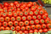 pic of stall  - Pile of Red Tomato at Market Stall - JPG