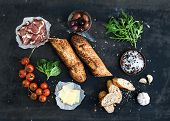 foto of baguette  - Ingredients for sandwich with smoked meat - JPG