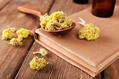 picture of roughage  - Old books with dry flowers and bottles on table close up - JPG