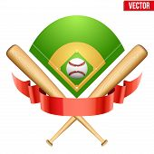 pic of bat  - Vector illustration of baseball leather ball and wooden bats on field - JPG